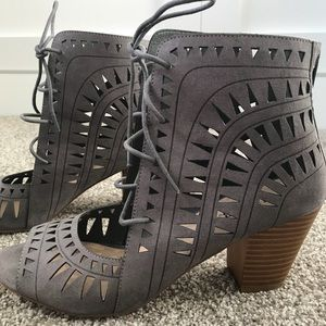 Gray Cutout Lace-Up Heels